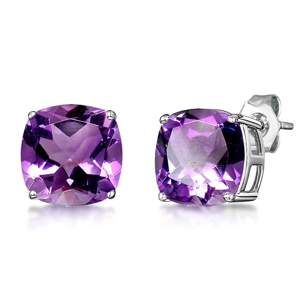 Multi Color Gemstones Sterling Silver Cushion Stud Earrings by Orchid Jewelry. Opens flyout.