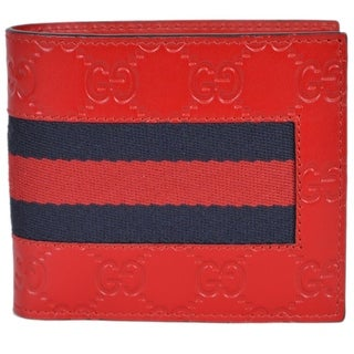 Gucci Men's 408826 Red Leather GG Guccissima Web Stripe Bifold Wallet