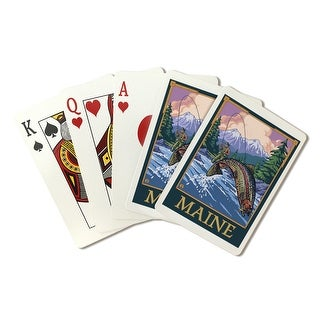 Maine - Angler Fly Fishing Scene (Leaping Trout) - Lantern Press Artwork (Poker Playing Cards Deck)