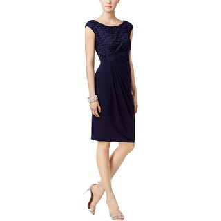 Connected Apparel Womens Party Dress Glitter Stripe Faux-Wrap