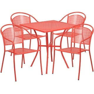 Westbury Square 28'' Coral Indoor-Outdoor Steel Table Set w/4 Round Back Chairs for Restaurant/Bar/Pub/Patio