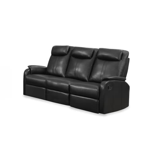 Monarch Specialties I 81 3 72 Inch Wide Metal Framed Leather Sofa Glider Recline