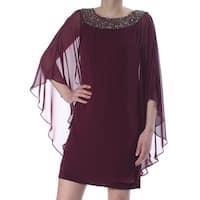 XSCAPE Womens Burgundy Caplet Above The Knee Sheath Evening Dress  Size: 8