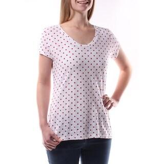 Womens White Polka Dot Short Sleeve V Neck Casual T-Shirt Top Size M