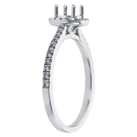 14K White Gold 1/4 ct. Diamonds Halo Semi Mount Engagement Ring by Beverly Hills Charm