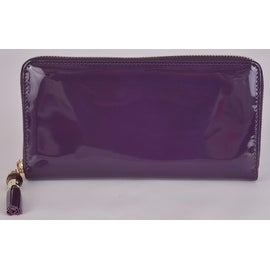 New Gucci 224253 Purple Patent Leather Zip Tassel Bamboo Pull Clutch Wallet
