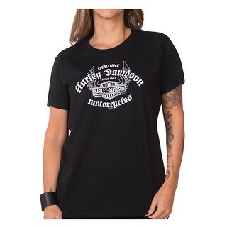 Harley-Davidson Women's Genuine Flight Short Sleeve Crew Neck Tee, Black