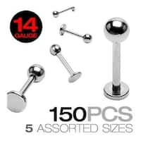 150 Piece Surgical Steel Mixed Size Labret with Ball Top - 14GA