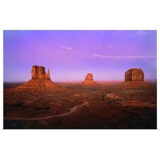 """Strange afterglow illuminates Monument Valley"" Poster Print"