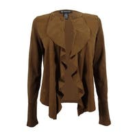 INC International Concepts Women's Ruffled Faux Suede Cardigan - cowgirl brown - 0X