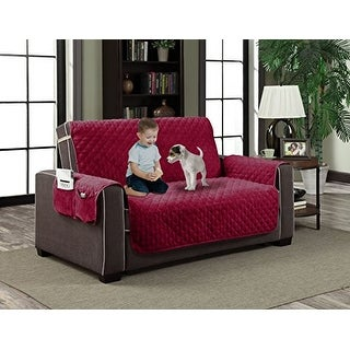 """Home Dynamix Slipcovers: All Season Quilted Microfiber Pet Furniture Couch Protector Cover - Red, 88"""" x 70"""" (Love Seat)"""