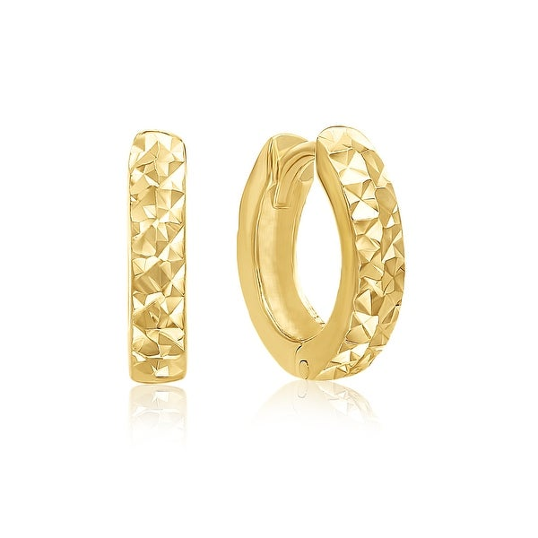 Mcs Jewelry Inc 14 KARAT YELLOW GOLD SMALL WIDE S HOOP EARRINGS WITH HIDDEN POST (0.5 in)