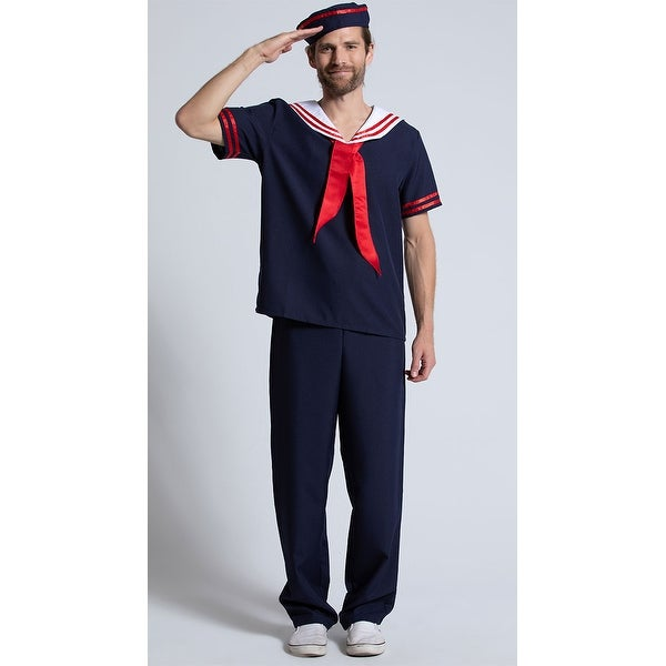 454002d9bc5 Mens Ahoy Sailor Costume, Sailor Halloween Costume - Navy Blue/Red/White