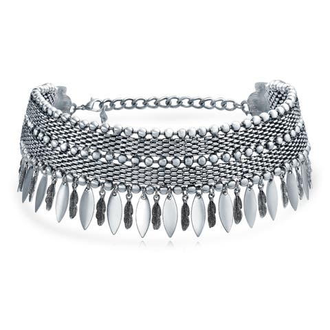 Native American Southwestern Style Dangling Feather Wide Choker Silver Tone Rhodium Plate Necklace For Women Adjustable