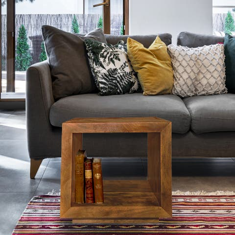 Wooden End Table with Open Interior, 24-Inch Square Accent Stand