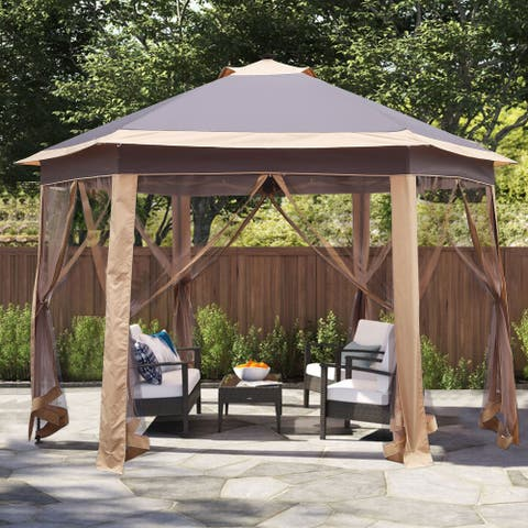 Ainfox Gazebo Outdoor Pop Up Canopy with Net Curtains&Carrying Bag with LED Lights