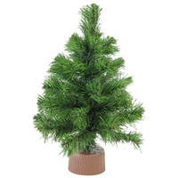 "12"" Mini Pine Artificial Christmas Tree in Faux Wood Base - Unlit - brown"
