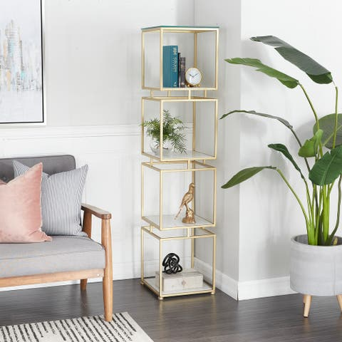 Gold Marble Glam Shelving Unit - 14 x 14 x 62