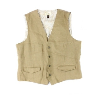 Tasso Elba Island NEW Safari Tan Beige Mens Size XL 4-Button Linen Vest