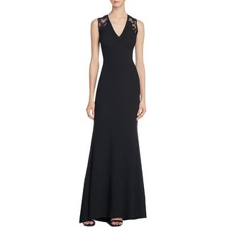 JS Collections Womens Evening Dress Textured Lace-Trim