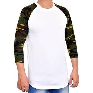 Men's Casual 3/4 Sleeve Baseball Tshirt 100% Cotton Jersey Shirt