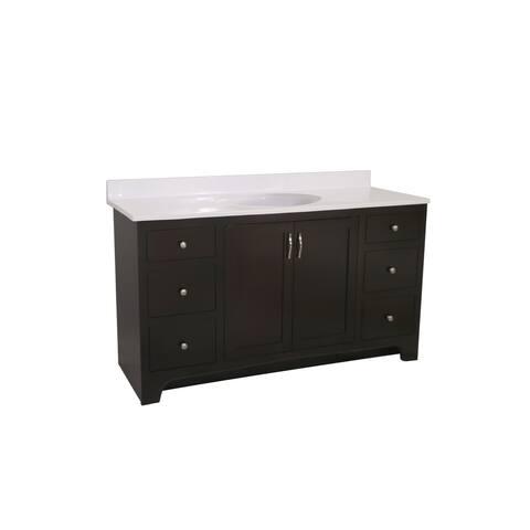 "Design House 612598 49"" Freestanding Vanity Cabinet with Marble Vanity Top - Espresso"
