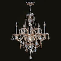 """Worldwide Lighting W83102C20-AM Provence 5-Light 1 Tier 20"""" Chrome Chandelier with Gold Crystals - n/a"""