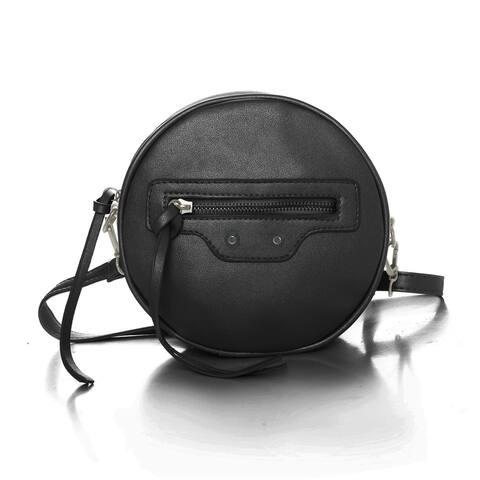 Women Detachable Strap Zip Closure Round PU Crossbody Bag