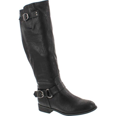 Wild Diva Oksana-77 Women's Faux Leather Buckle Back Zipper Riding Knee High Boot - Black