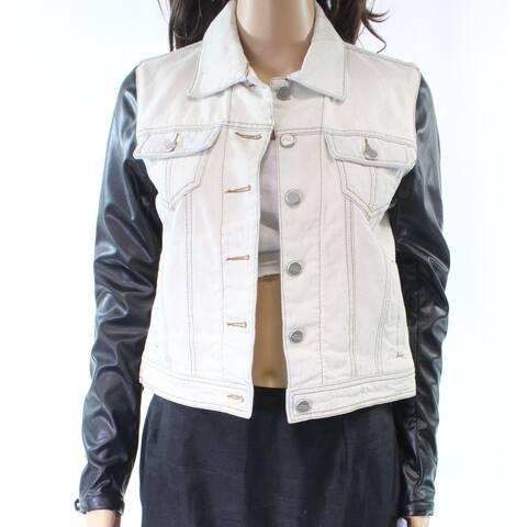 Steve Madden Women's Jacket Blue Size Large L Denim Jean Faux-Leather