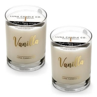 Natural Scented Vanilla Glass Candle, Soy Wax, Handcrafted (2 Pack)
