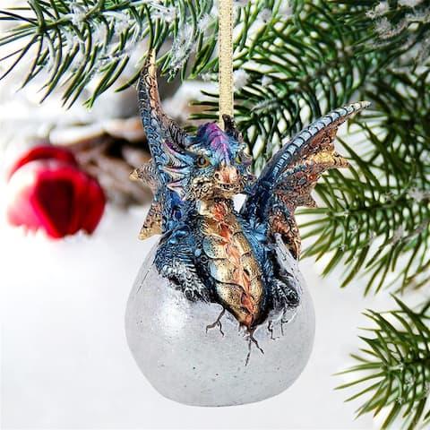 """Design Toscano Hard Boiled Dragon Hatchling Holiday Ornament, 3.5"""", Full Color"""