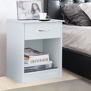 Costway Night Stand End Table Bedside Furniture Drawer Sturdy Storage