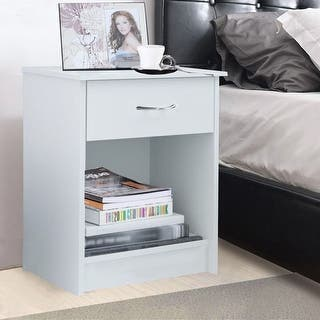 table for bedroom. Costway Night Stand End Table Bedside Furniture Drawer Sturdy Storage Nightstands  Tables For Less Overstock com