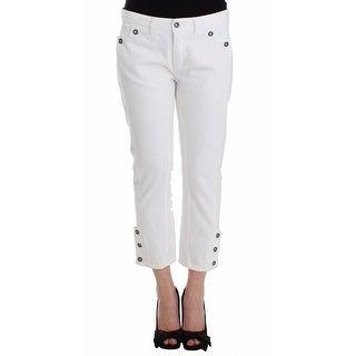 Ermanno Scervino Ermanno Scervino White Cropped Jeans Denim Pants Branded Capri