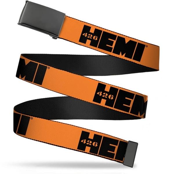 """Blank Black 1.25"""" Buckle Hemi 426 Logo Repeat Orange Black Webbing Web Belt 1.25"""" Wide - M"""