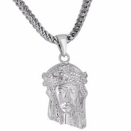 "Custom Made Jesus Pendant Franco 24"" Necklace 18K Rhodium Finish Simulated Diamonds"
