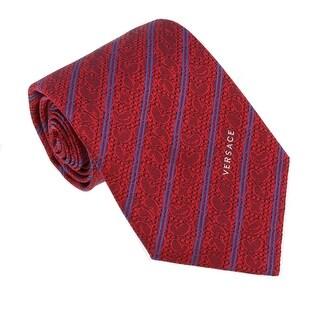 Versace Red Woven Baroque Stripe Tie