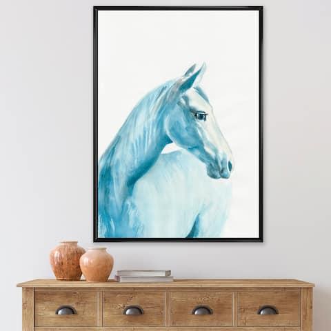Designart 'Portrait of A Light Blue Horse' Farmhouse Framed Canvas Wall Art Print
