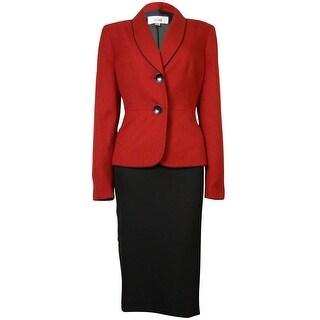 Le Suit Women's Crepe Bordeaux Skirt Suit