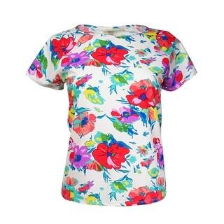 Bleu Rod Beattie Women's Floral Short-Sleeves Rashguard (L, White Multi) - L