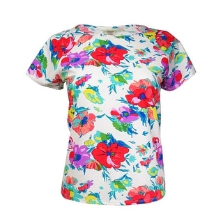 Bleu Rod Beattie Women's Floral Short-Sleeves Rashguard (S, White Multi) - S