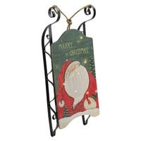 "19.5"" Hanging Wooden and Metal Santa Claus LED Decorative Christmas Sleigh"
