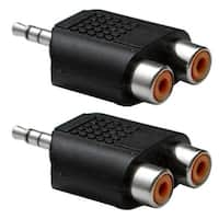 "Seismic Audio 2 Pack - 3.5 MM 1/8"" TRS Male to 2 RCA Female Splitter - Stereo Adapter Jack"