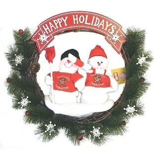 "20"" NCAA Maryland Terrapins Snowmen Couple Artificial Christmas Wreath - Unlit"