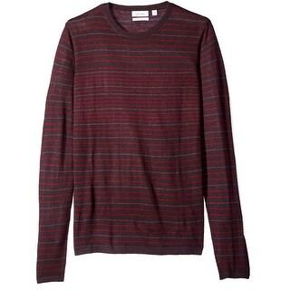 Calvin Klein NEW Red Mens Large L Wool Merino Stripe Crew Neck Sweater