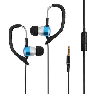 Telephone Mp4 3.5mm Plug Over-the-ear Style In-ear Earbud Headset Earphone Blue