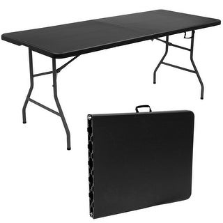 Goplus 6' Folding Table Portable Plastic Picnic Party Dining Camp Tables Indoor Outdoor - Black