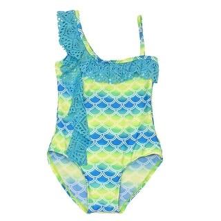 Real Love Little Girls Blue Lime Scale Print Asymmetric Ruffle Swimsuit