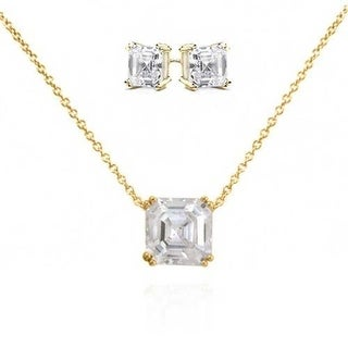 Bling Jewelry Gold Plated Asscher Cut CZ Silver Necklace and Earrings Set